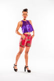 Purple silk crop top with fabric lining - Kapy Bash Mode