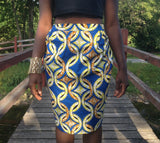 Blue Ring Pencil Skirt - Kapy Bash Mode