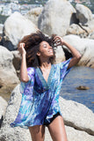 BLUE PRINTED BEACH COVER-UP WRAP DRESS - Kapy Bash Mode