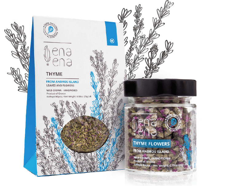 Hellenic Fields Wild Greek Thyme Flowers and Leaves from Andros - Katina's Greek Foods