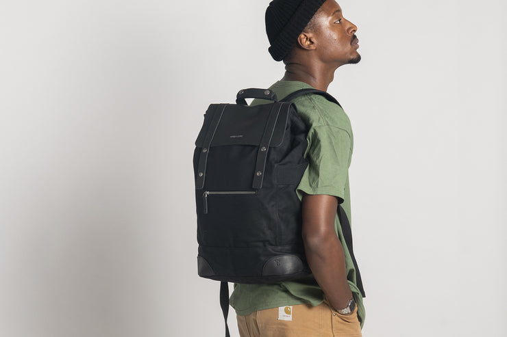 Rider Backpack Waxed Canvas Black