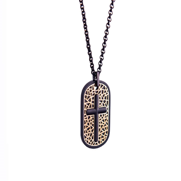 ITALGEM STEEL Gold and Black Cross Inlay Dogtag