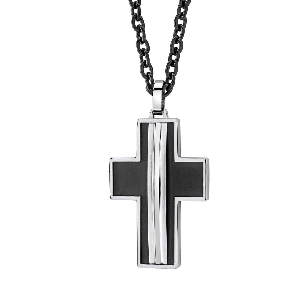 ITALGEM STEEL Brushed Cross Necklace