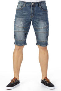 EMBOSSED DENIM SHORT