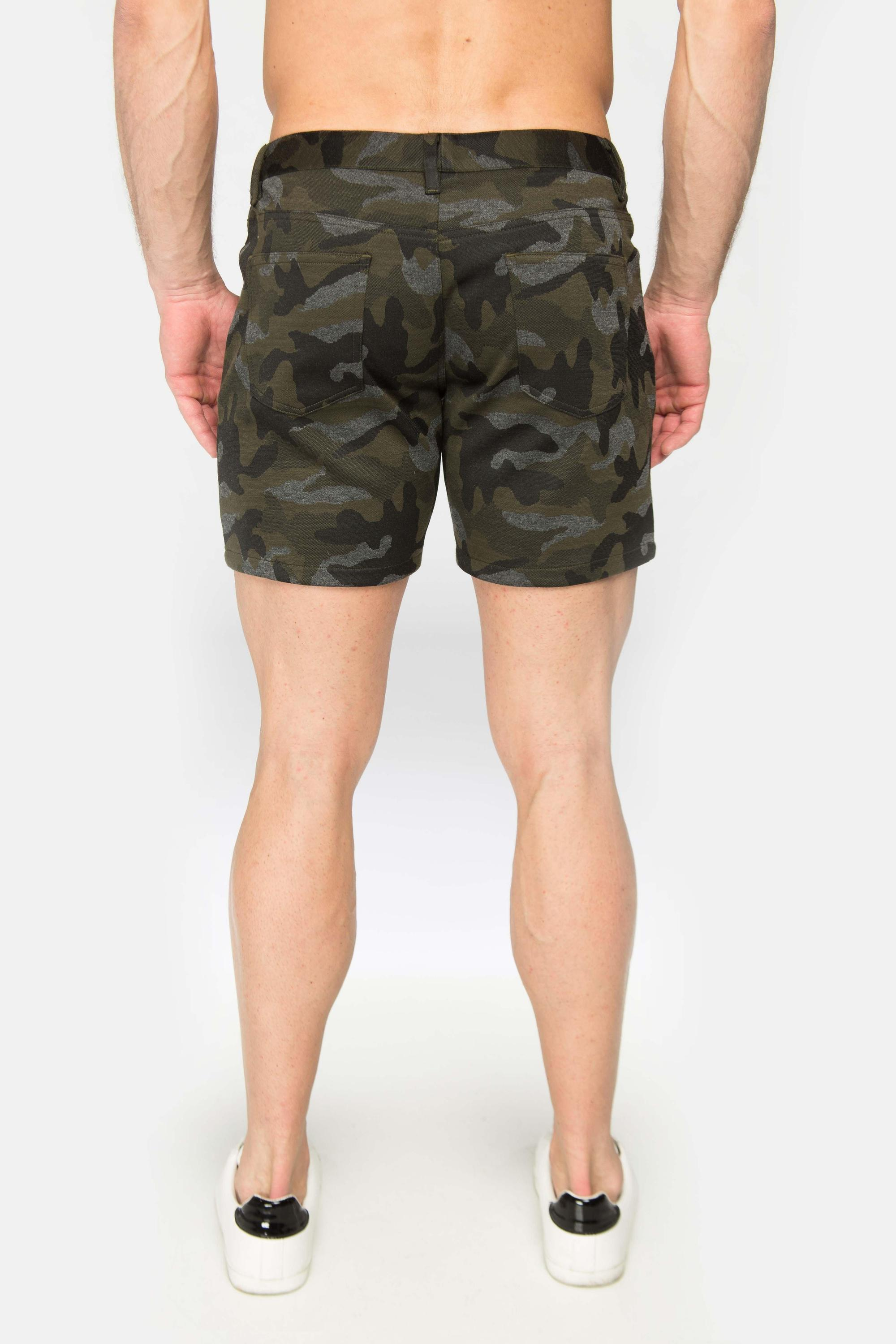 PRINTED STRETCH KNIT SHORT - Olive