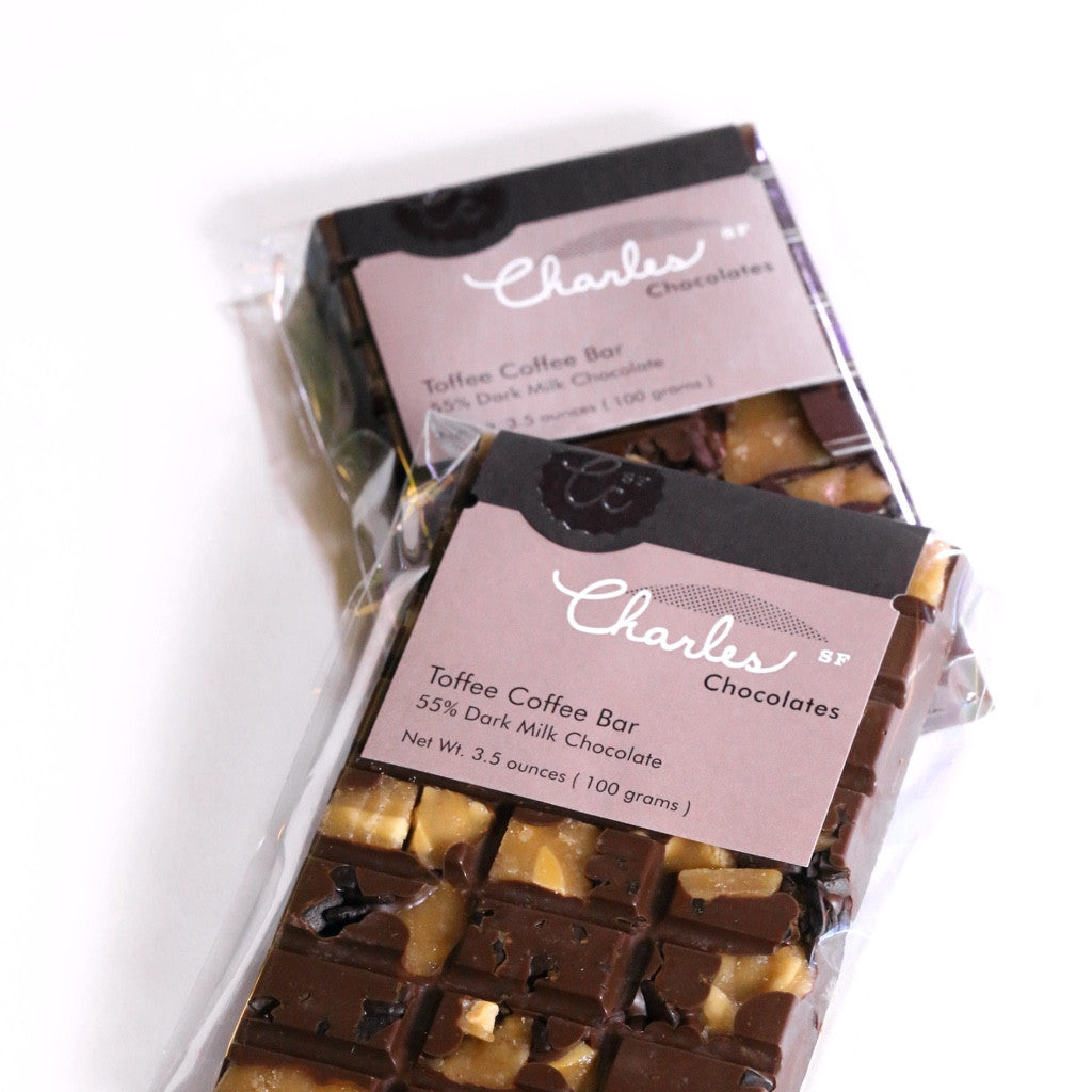 Candied Valencia & Almond Bar, Milk Chocolate | Charles Chocolates
