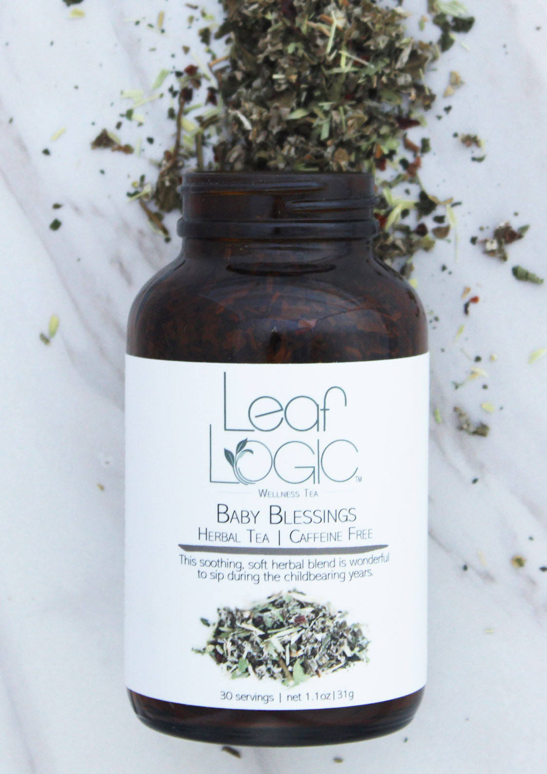 Leaf Logic - Baby Blessings Loose Leaf Tea in an Amber Refillable Jar