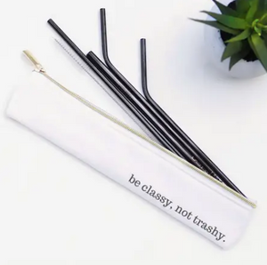 Stainless Steel Straw Set with Waterproof Lined Bag - 6 Pieces