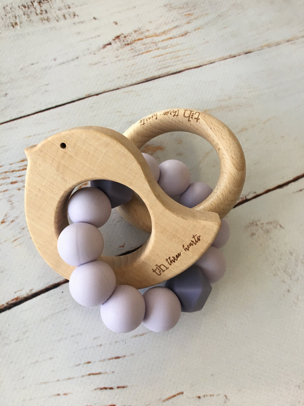 Silicone & Beechwood Dove Teething Ring