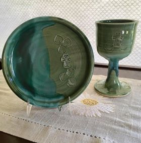 Communion Set in Emerald Isle Green