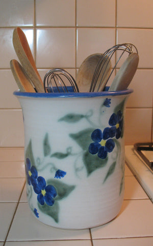 Crock Utensil Jar with Blue 2-Flower Design