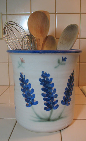 Crock Utensil Jar with Bluebonnets