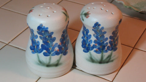 Salt and Pepper Shakers with Blue Bonnets