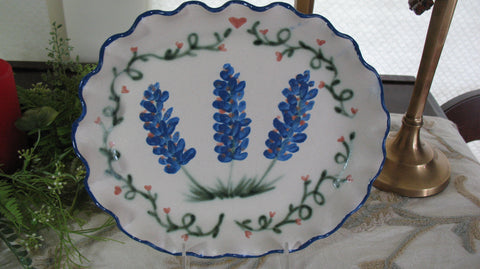 Oval Plate with the Texas Blue Bonnet Design
