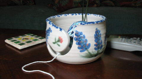 Yarn Bowl with Blue bonnets
