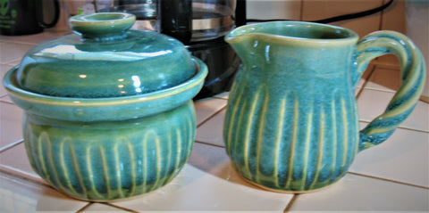 Creamer and Sugar Bowl Set in Our Emerald Isle Green