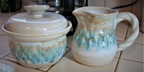 Creamer and Sugar Bowl Set in Our Sandy Shores Glaze