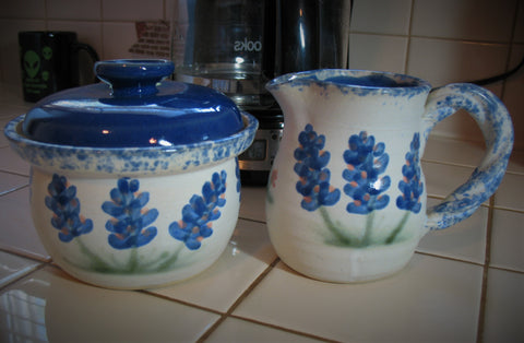 Creamer and Sugar Bowl Set in Our Texas Blue Bonnet Pattern
