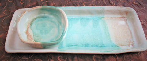 Tray Set in Our Sandy Shores Glaze