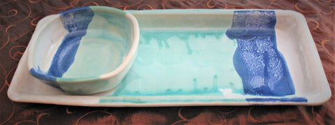 Tray Set in Our Light Ocean Breeze Glaze Pattern