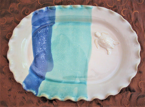 Oval Platter with Sea Turtle in Our Ocean Breeze Glaze