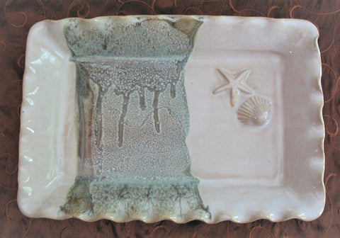 Rectangle Platter with Shell and Starfish in Our Espresso Mint Glaze