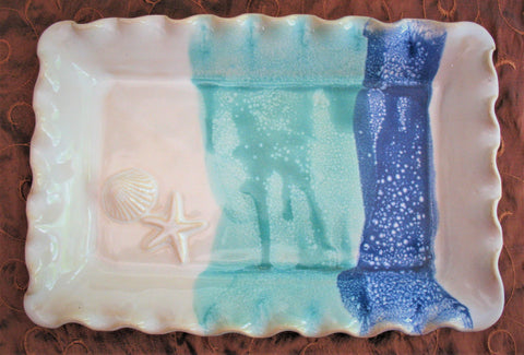 Rectangle Platter with Shell and Starfish in Our Light Ocean Breeze Glaze