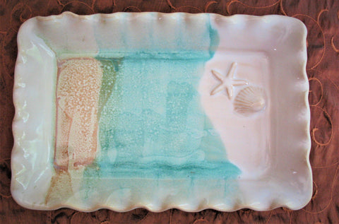 Rectangle Serving Platter with Shell and Starfish in Our Sandy Shores Glaze