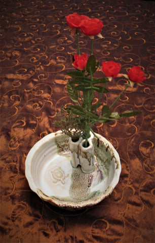 Bud Vase with Sea Turtle in our Espresso Mint Glaze