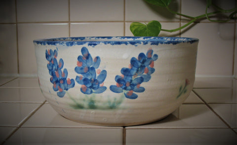 Serving Bowl with Our Texas Blue Bonnet Design
