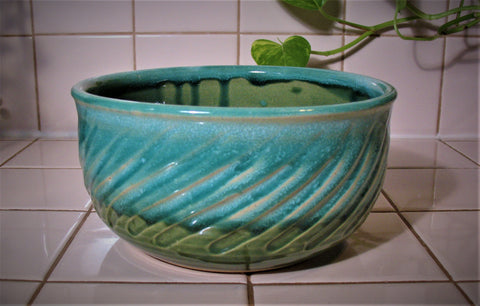 Carved Serving Bowl in Emerald Isle Green