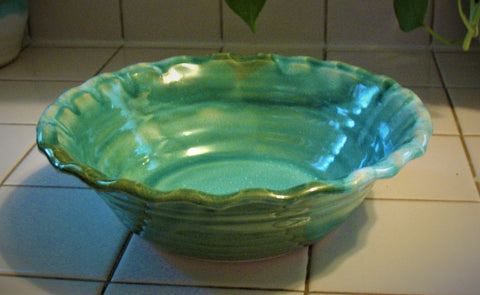 Fluted Serving Bowl in Our Emerald Isle Green Glaze