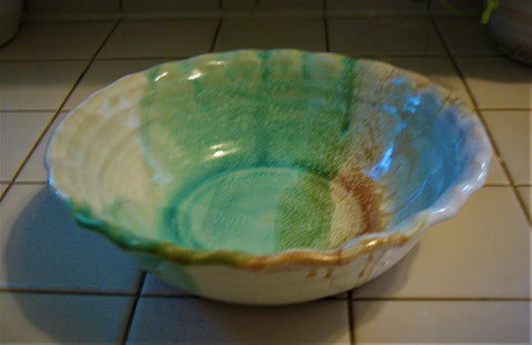 Fluted Serving Bowl in Our Sandy Shores Glaze