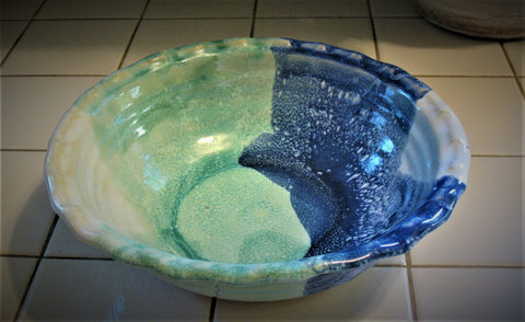 Fluted Serving Bowl in Our Ocean Breeze Glaze