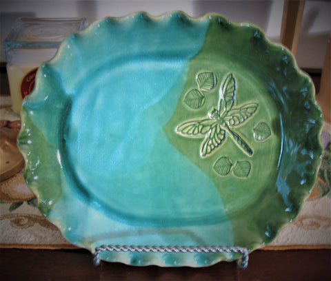 Oval Plate with Dragonfly in Emerald Isle Green