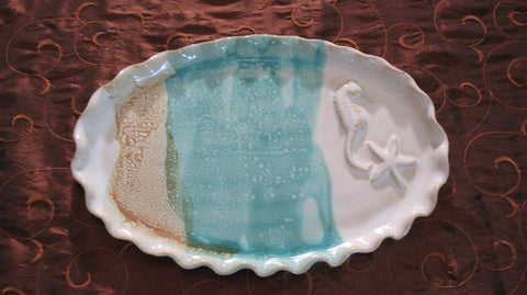 Oval Plate with Seahorse and Starfish in Sandy Shores Glaze