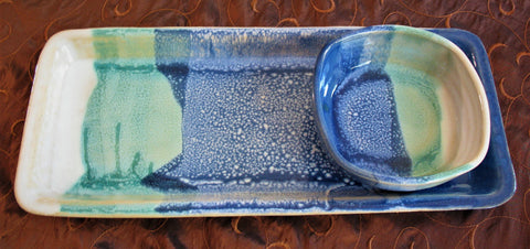 Tray Set in Our Dark Ocean Breeze Glaze