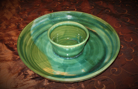 Chip and Dip in Our Emerald Isle Green Glaze Design