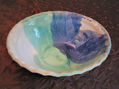 Large Fluted Serving Bowl in Our Ocean Breeze Glaze Pattern