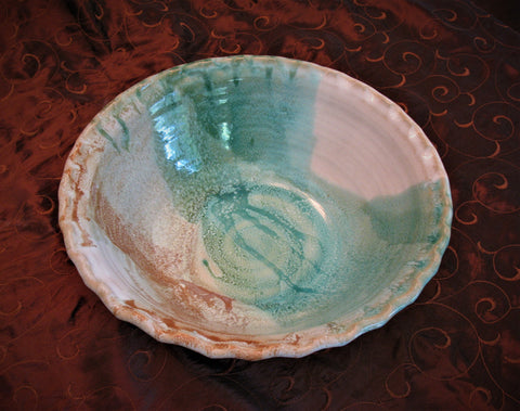 Large Fluted Serving Bowl in Our Sandy Shores Glaze Pattern