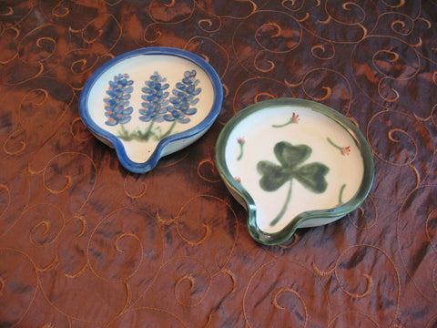 Spoon Rests with Our Blue Bonnet or Shamrock Design