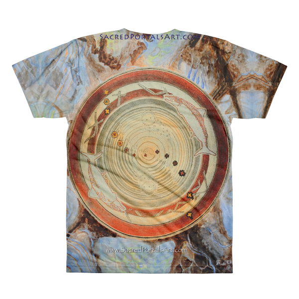 """Spawn & Thrive - Life's Ripples Of Hope"" Vers. 2 ©2012 (2nd Chakra) - LA Apparel PL401 Men's Sublimation T-Shirt"