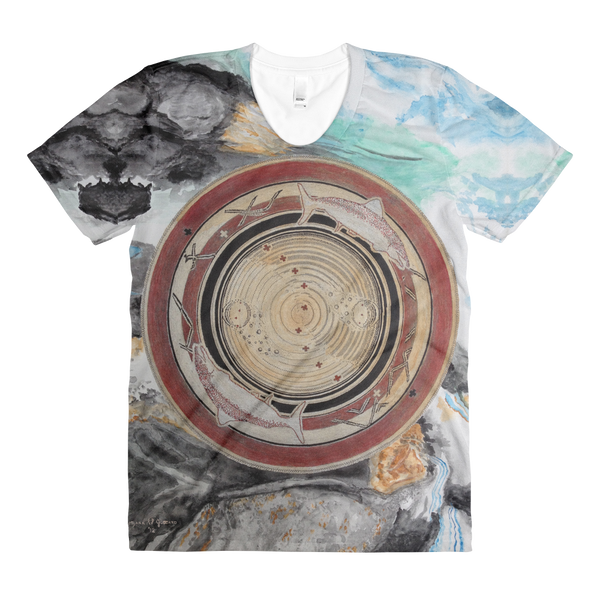 """Spawn & Thrive - Life's Ripples Of Hope"" Vers. 1  ©2012 (2nd Chakra) - LA Apparel PL301 Women's Sublimation T-Shirt"