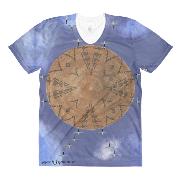 """Flying Geese Series 1 - Looks Within Heart Migration"" ©2011 (4th Chakra) - LA Apparel PL301 Women's Sublimation T-Shirt"