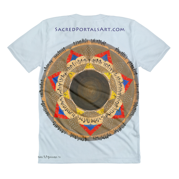 """Pomo Gift Fire"" ©2010 (7th Chakra) - LA Apparel PL301 Women's Sublimation T-Shirt"