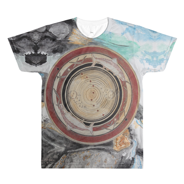 """Spawn & Thrive - Life's Ripples Of Hope"" Vers. 1 ©2012 (2nd Chakra) - LA Apparel PL401 Men's Sublimation T-Shirt"