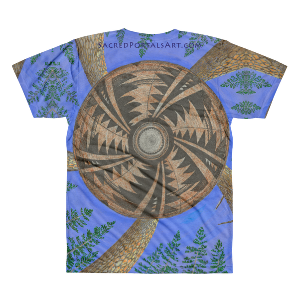 """Ponderosa Web of Life"" ©2011 (5th Chakra) - LA Apparel PL401 Men's Sublimation T-Shirt"