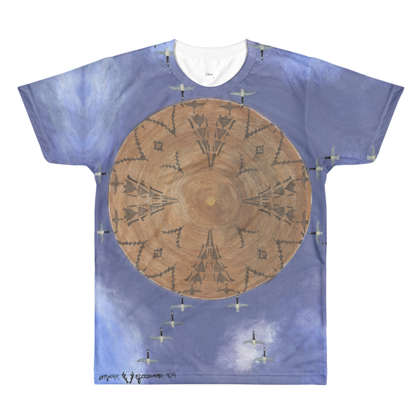 """Flying Geese Series 1 - Looks Within Heart Migration"" ©2011 (4th Chakra) - LA Apparel PL401 Men's Sublimation T-Shirt"