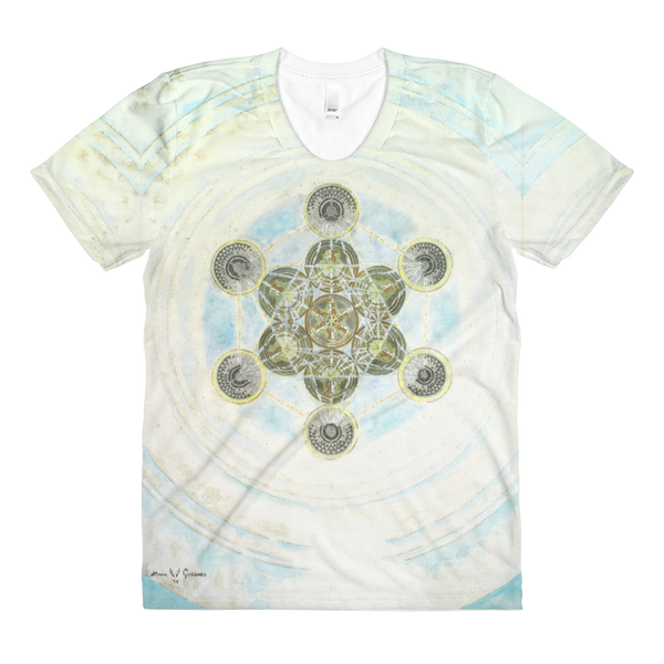 """Metatron's Cube: Voice Of God"" ©2014 - LA Apparel PL301 Women's Sublimation T-Shirt"