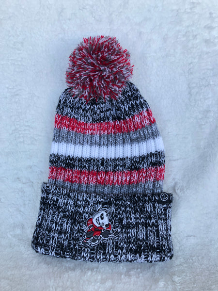 Adult Grey Striped Pom Toque